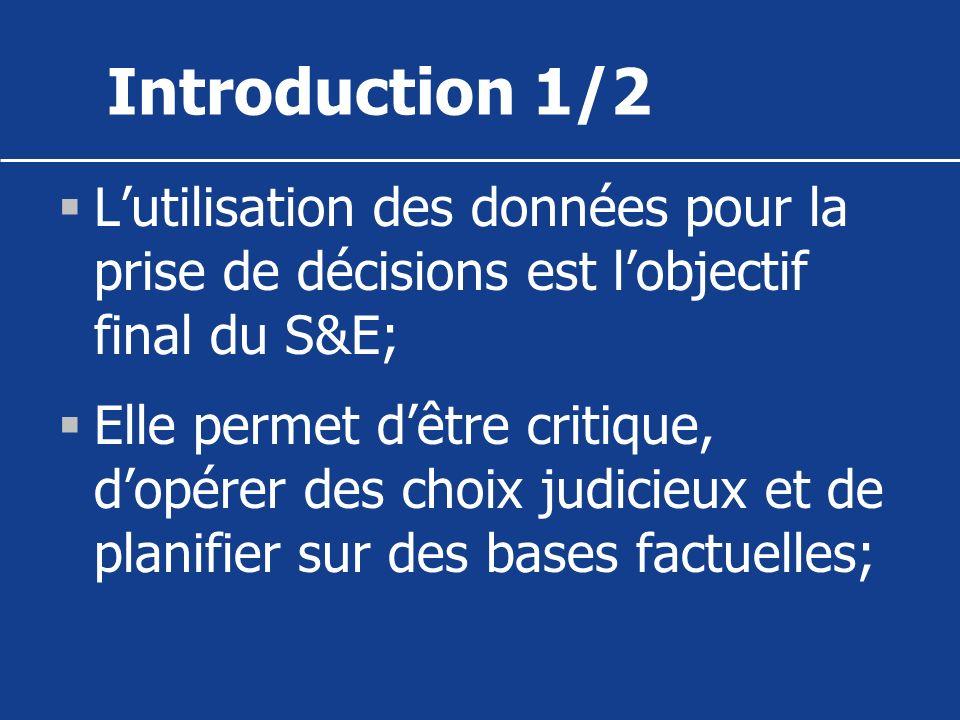 Introduction 1/2 L'utilisation des données pour la prise de décisions est l'objectif final du S&E;