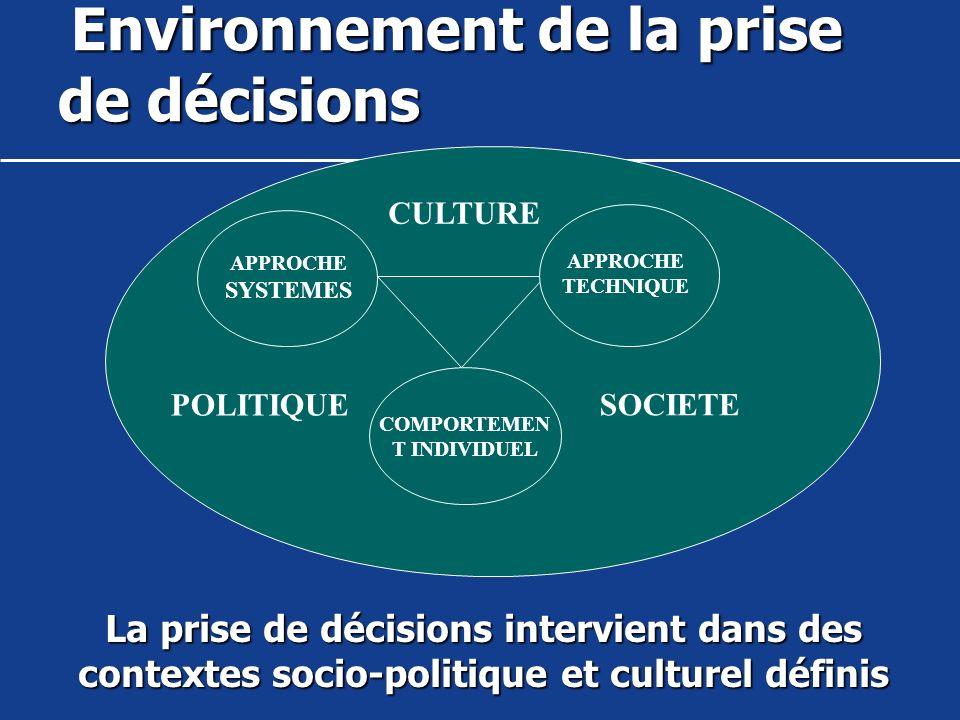 Environnement de la prise de décisions
