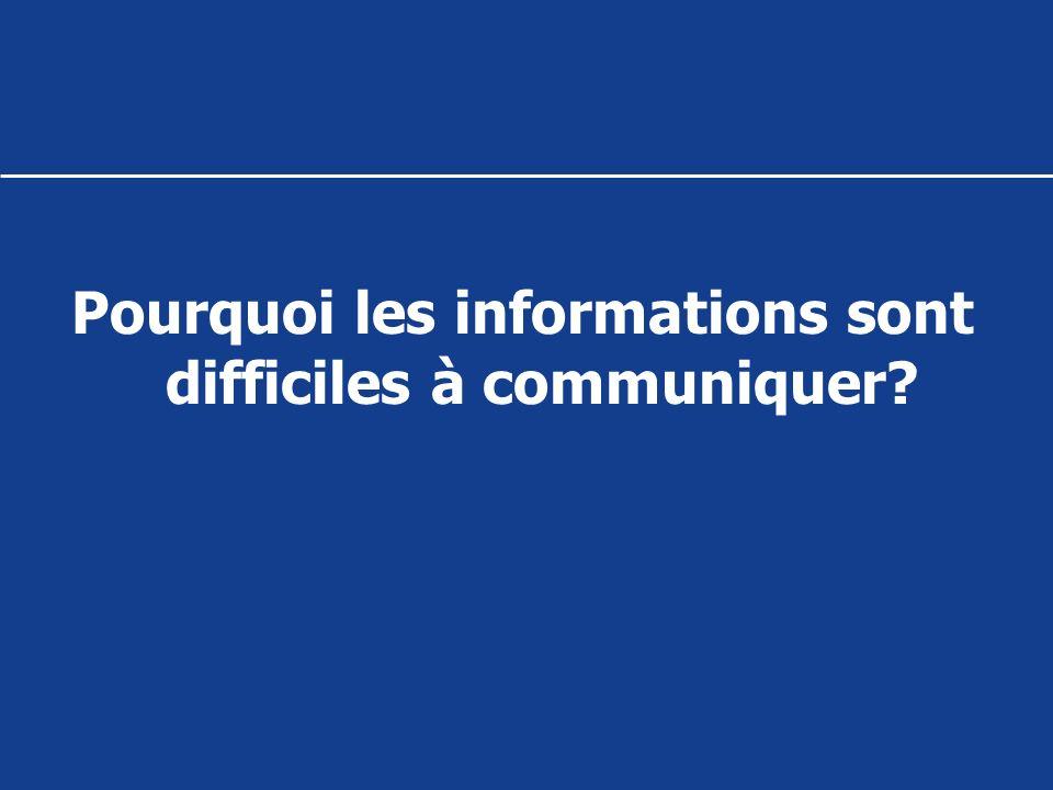 Pourquoi les informations sont difficiles à communiquer