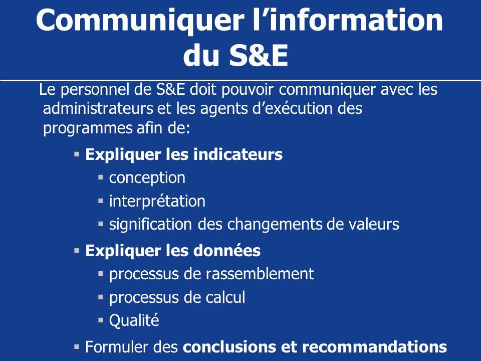 Communiquer l'information du S&E