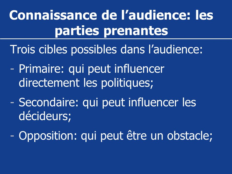 Connaissance de l'audience: les parties prenantes