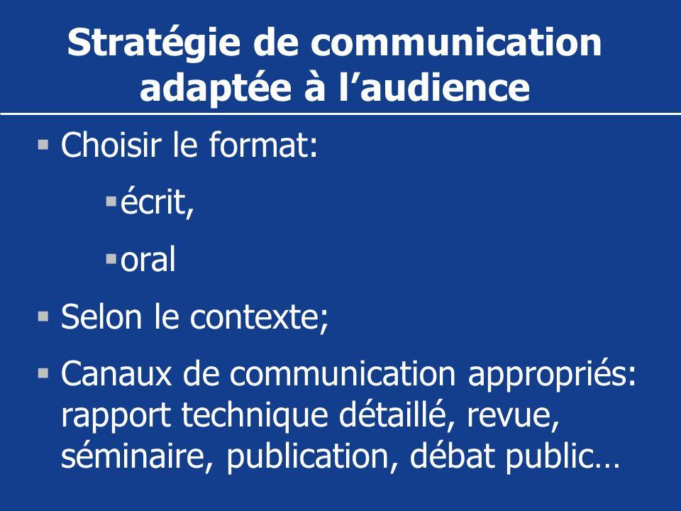 Stratégie de communication adaptée à l'audience
