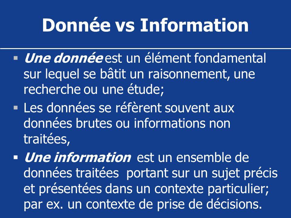 Donnée vs Information Une donnée est un élément fondamental sur lequel se bâtit un raisonnement, une recherche ou une étude;