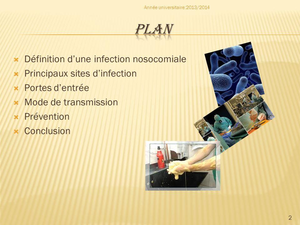 PLAN Définition d'une infection nosocomiale