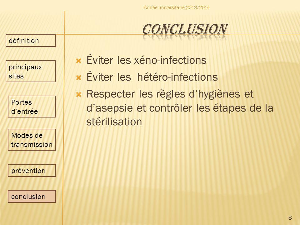 conclusion Éviter les xéno-infections Éviter les hétéro-infections