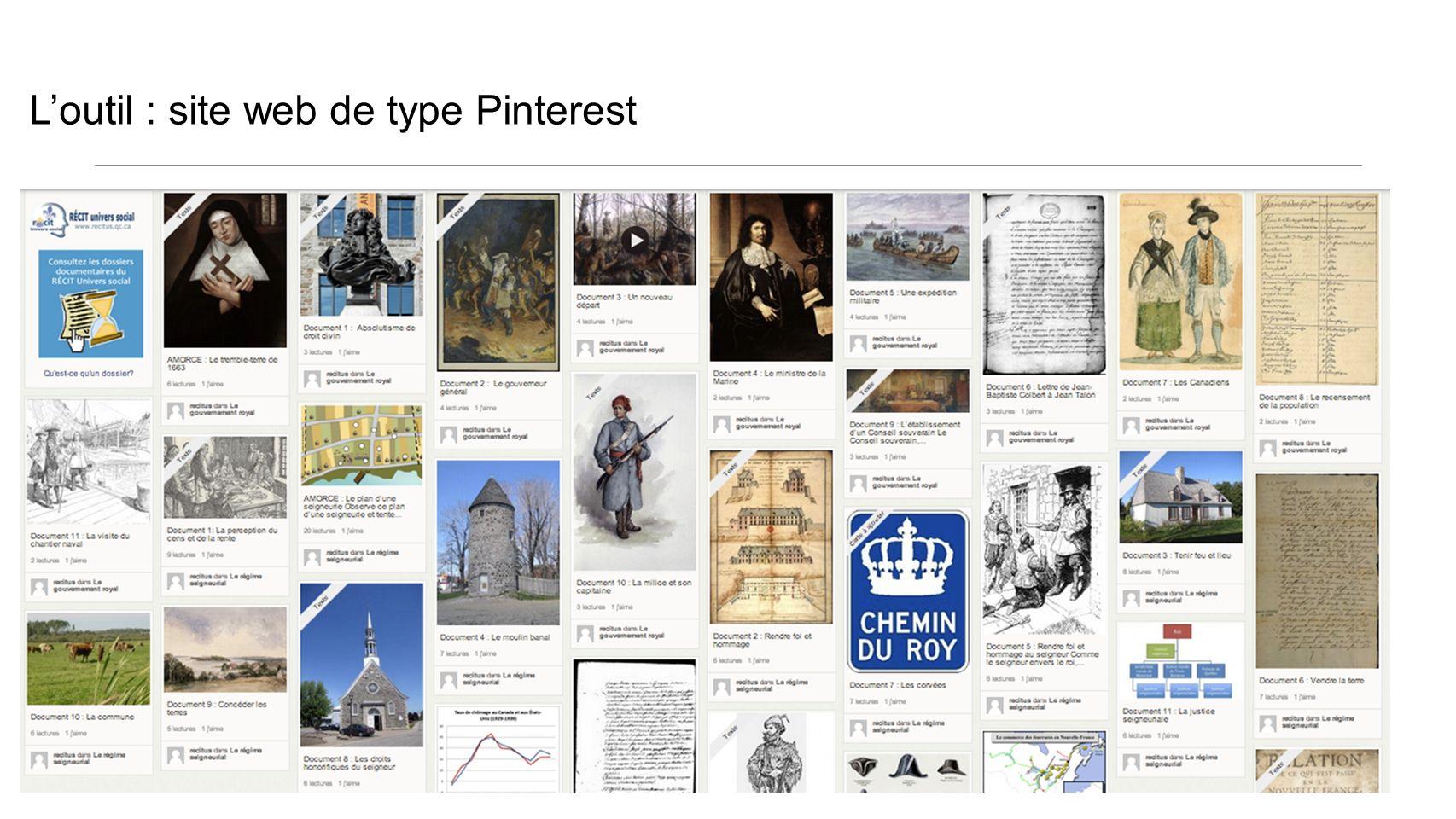 L'outil : site web de type Pinterest