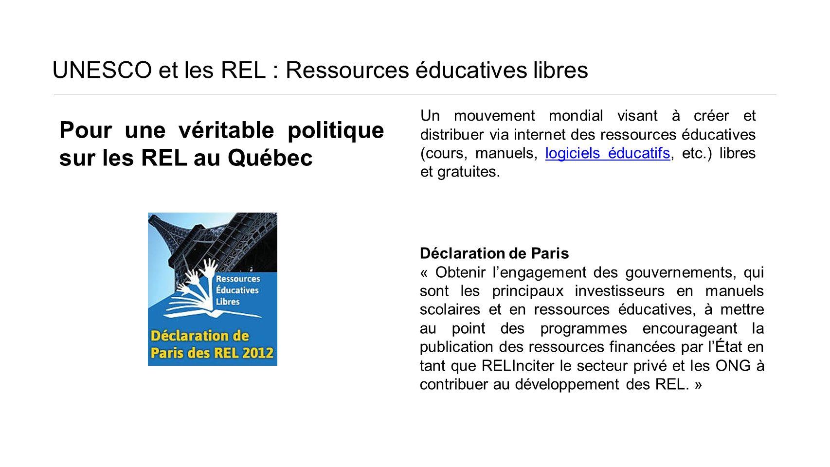 UNESCO et les REL : Ressources éducatives libres