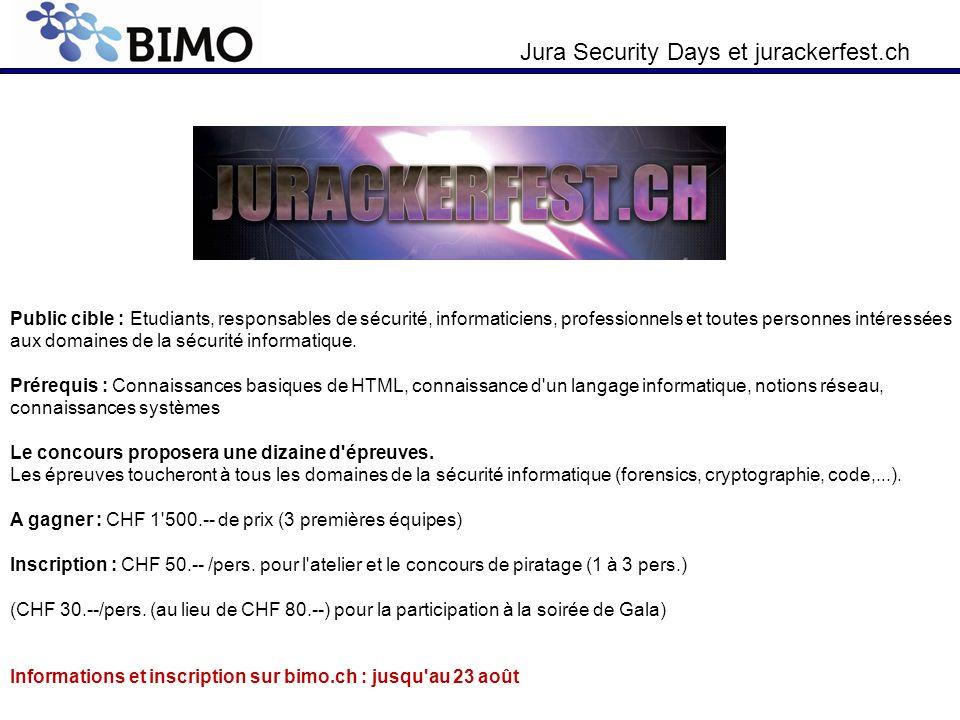 Public cible : Etudiants, responsables de sécurité, informaticiens, professionnels et toutes personnes intéressées aux domaines de la sécurité informatique.