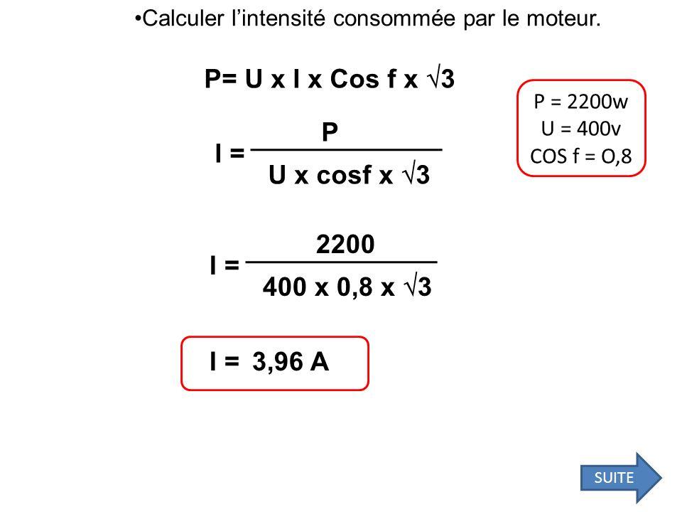 P= U x I x Cos f x 3 P I = U x cosf x 3 2200 I = 400 x 0,8 x 3 I =