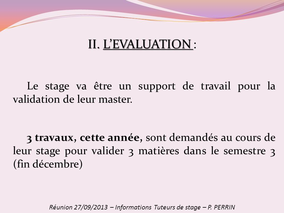 Réunion 27/09/2013 – Informations Tuteurs de stage – P. PERRIN