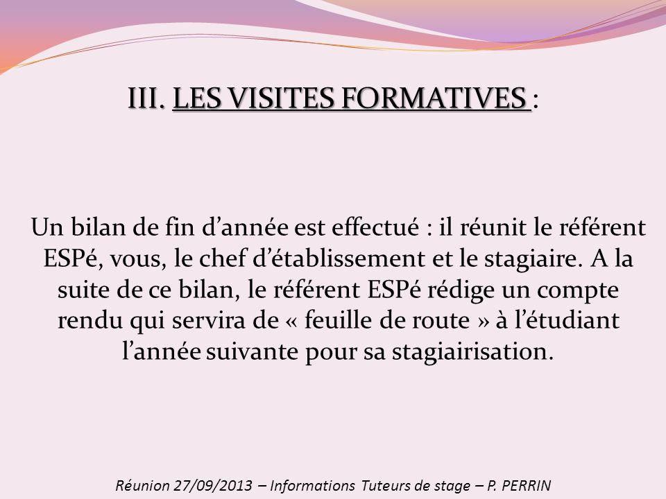 III. LES VISITES FORMATIVES :
