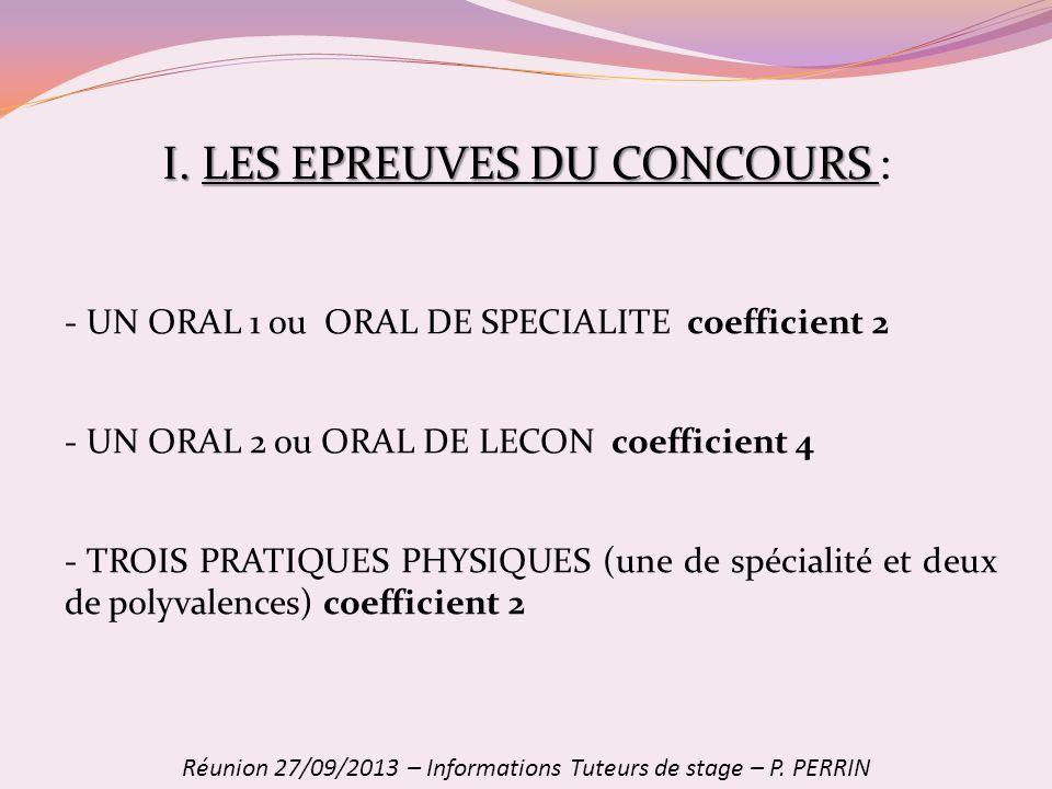I. LES EPREUVES DU CONCOURS :