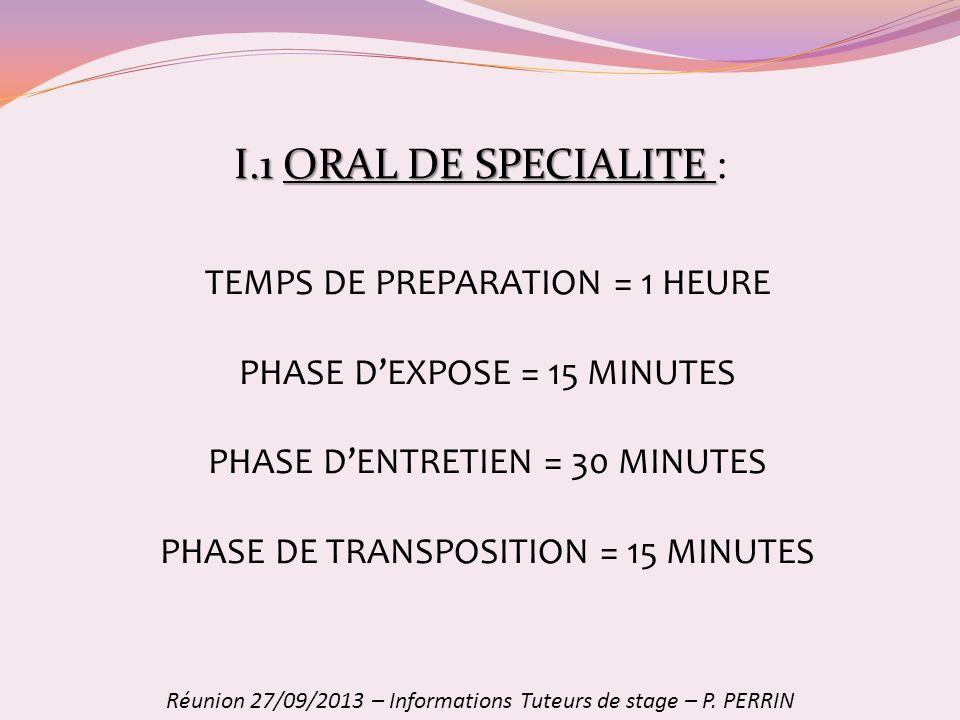 I.1 ORAL DE SPECIALITE : TEMPS DE PREPARATION = 1 HEURE
