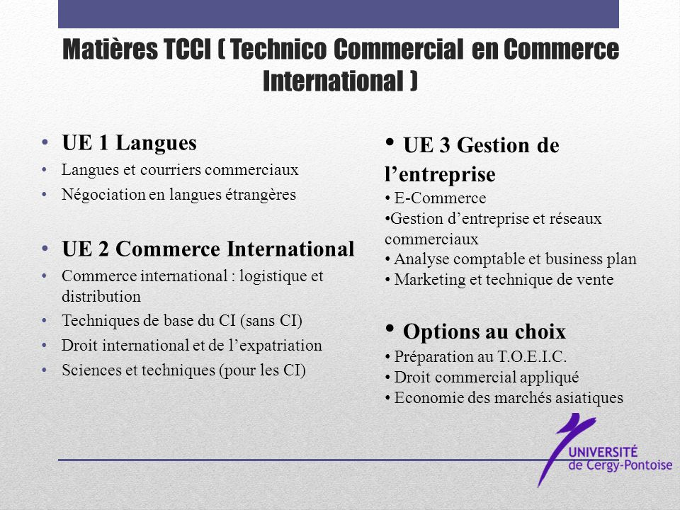 Matières TCCI ( Technico Commercial en Commerce International )