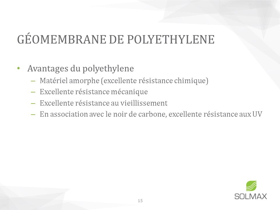 GÉOMEMBRANE DE POLYETHYLENE