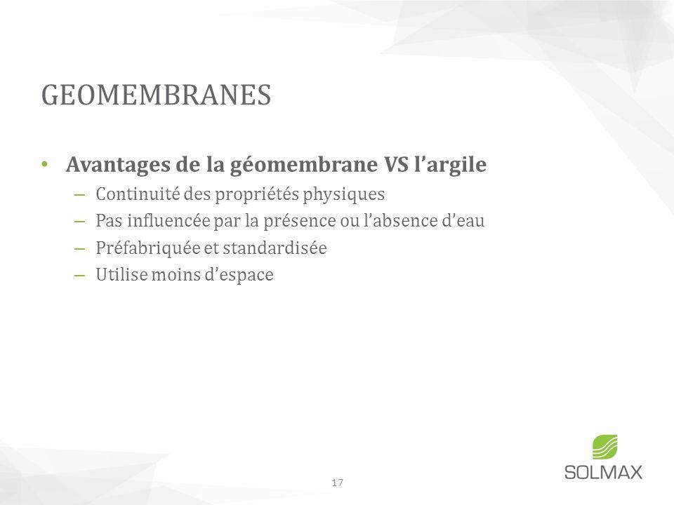GEOMEMBRANES Avantages de la géomembrane VS l'argile