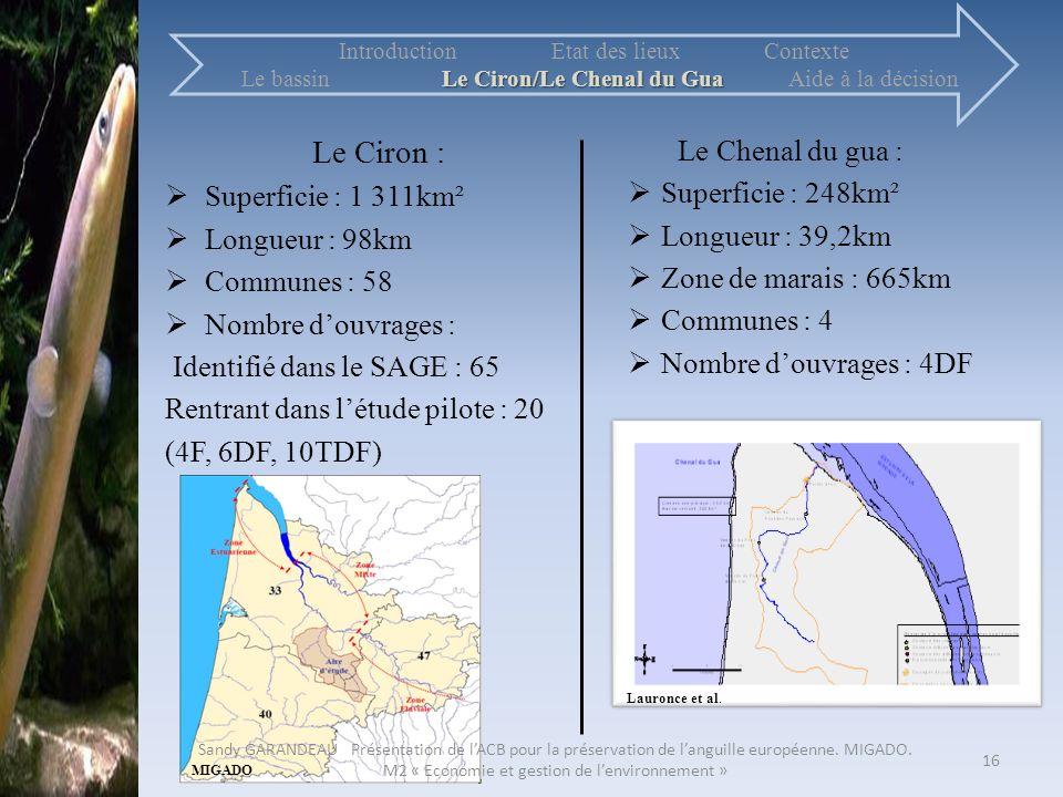 Le Ciron : Le Chenal du gua : Superficie : 1 311km²
