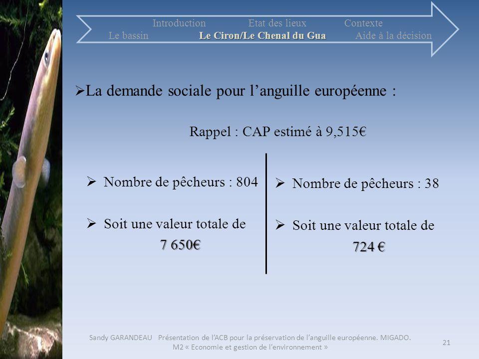La demande sociale pour l'anguille européenne :