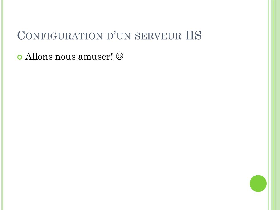 Configuration d'un serveur IIS