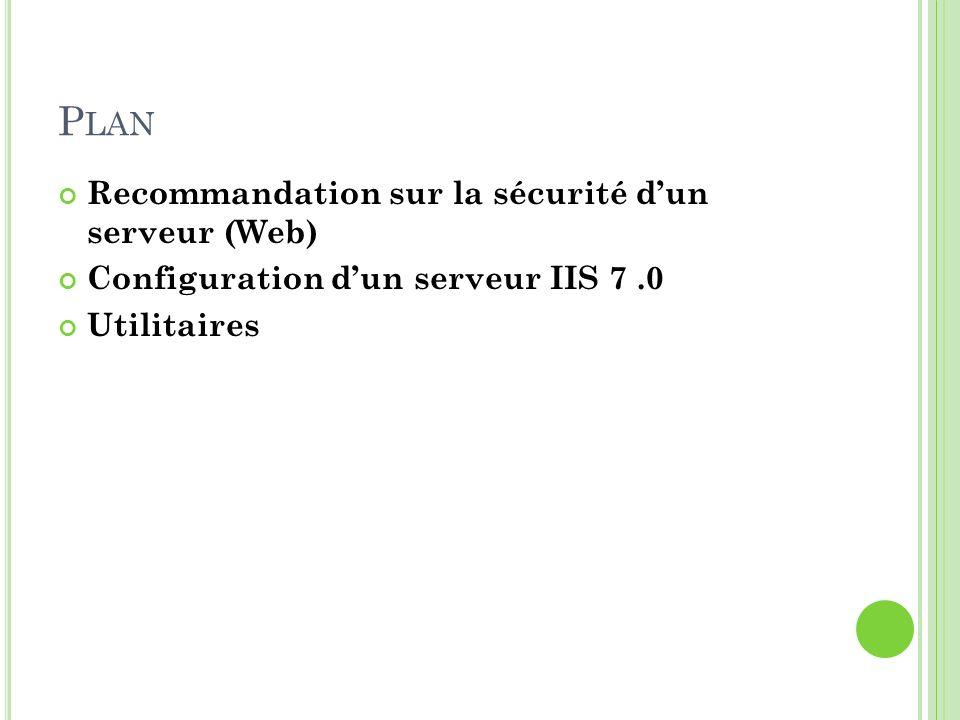 Plan Recommandation sur la sécurité d'un serveur (Web)