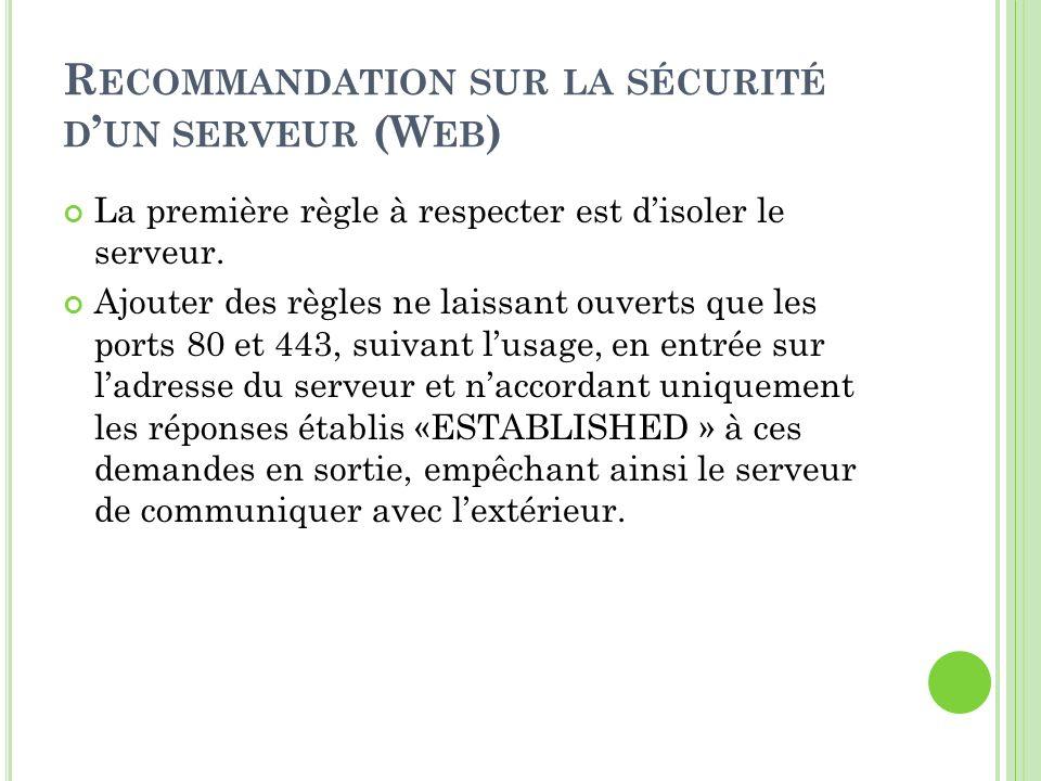 Recommandation sur la sécurité d'un serveur (Web)