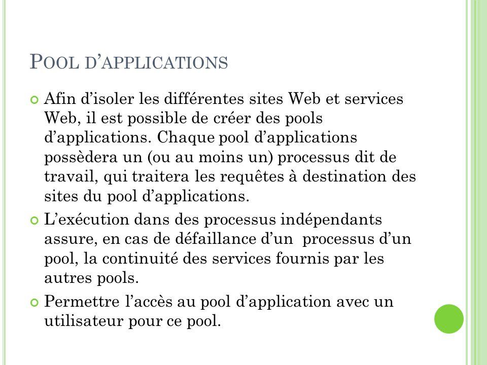 Pool d'applications