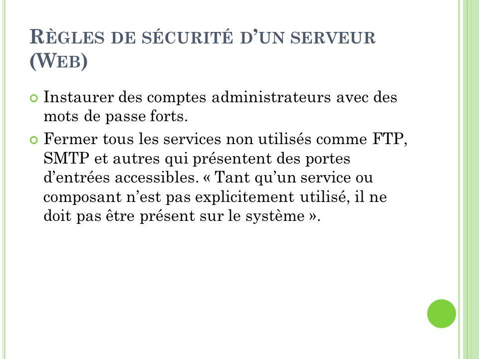 Règles de sécurité d'un serveur (Web)