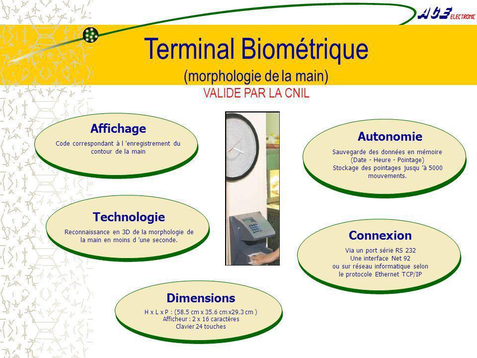 Terminal Biométrique (morphologie de la main) VALIDE PAR LA CNIL