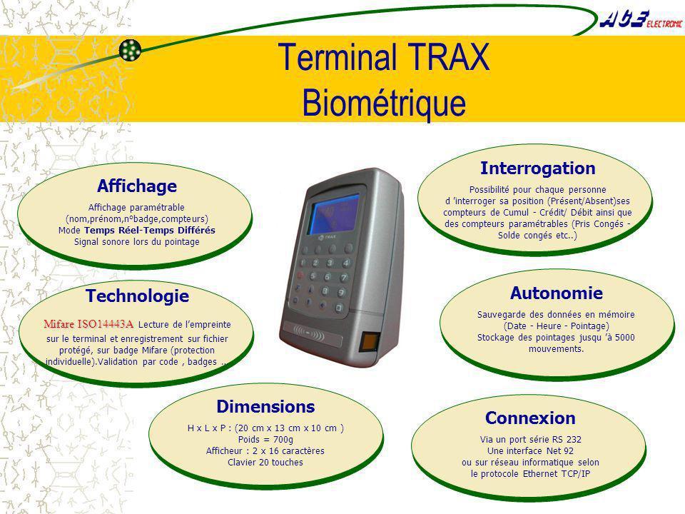 Terminal TRAX Biométrique