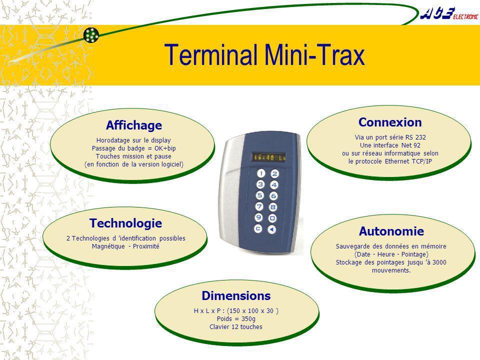 Terminal Mini-Trax Connexion Affichage Technologie Autonomie