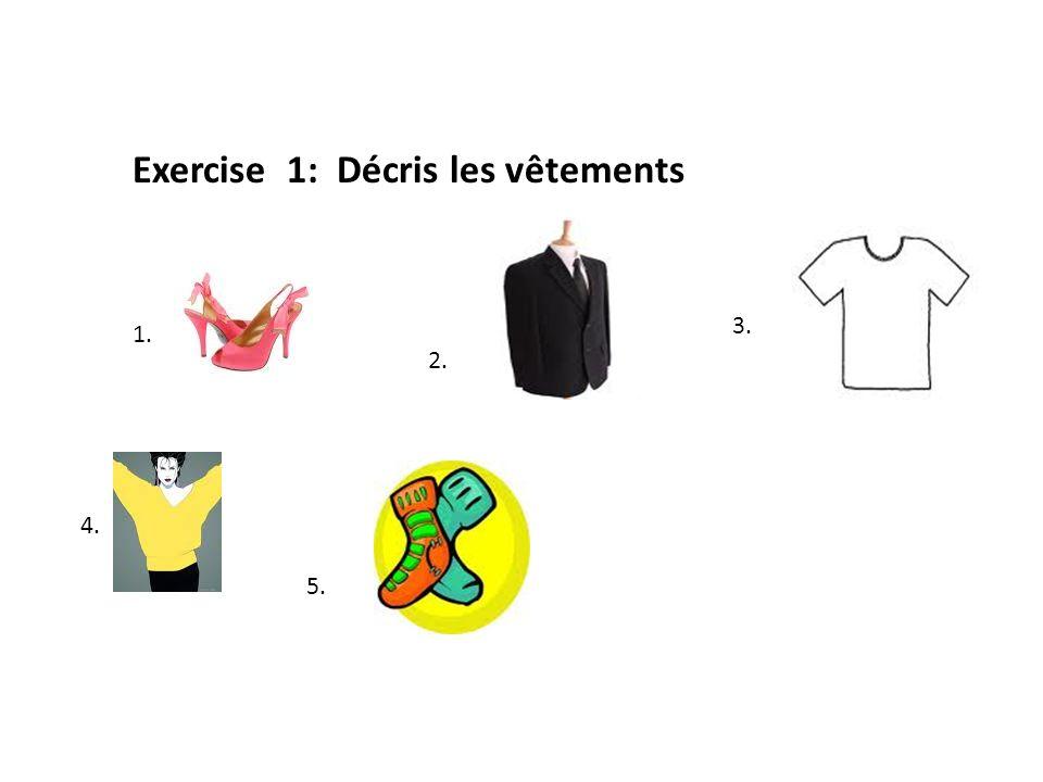 Exercise 1: Décris les vêtements