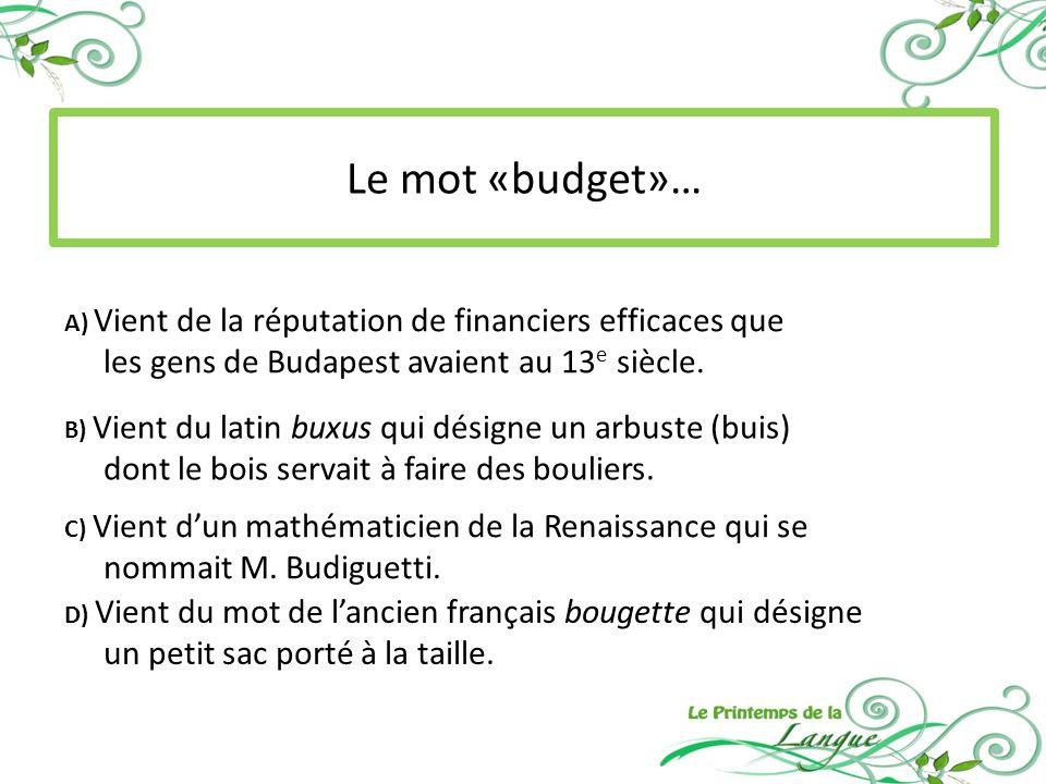 Le mot «budget»… les gens de Budapest avaient au 13e siècle.