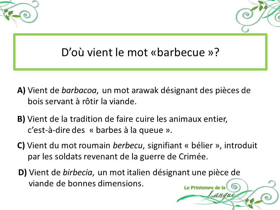 D'où vient le mot «barbecue »