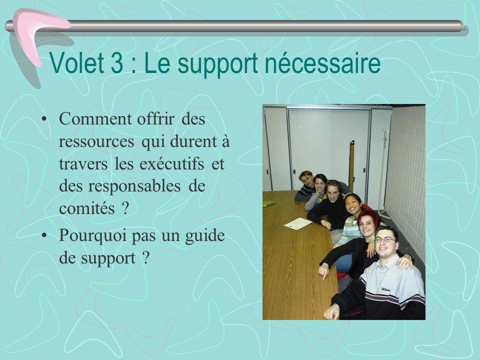 Volet 3 : Le support nécessaire