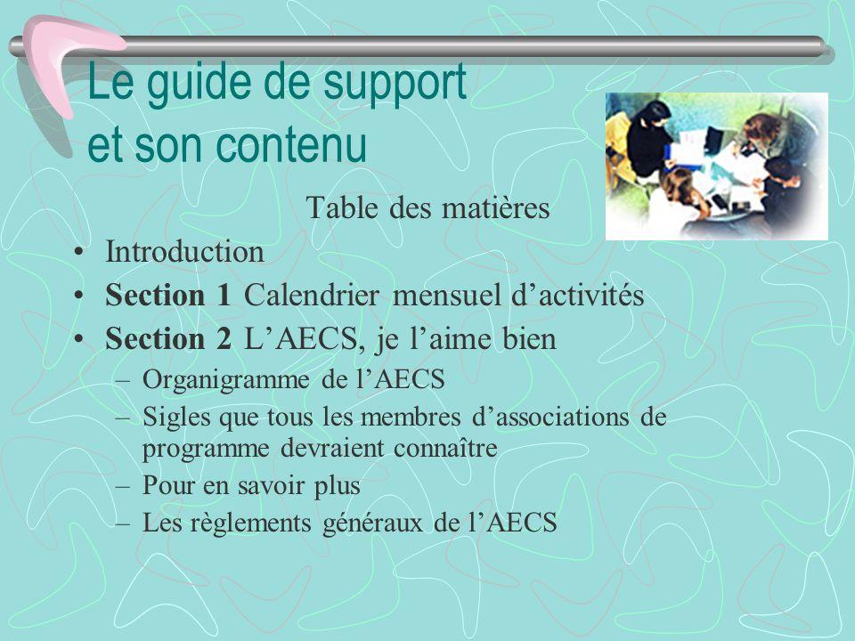 Le guide de support et son contenu