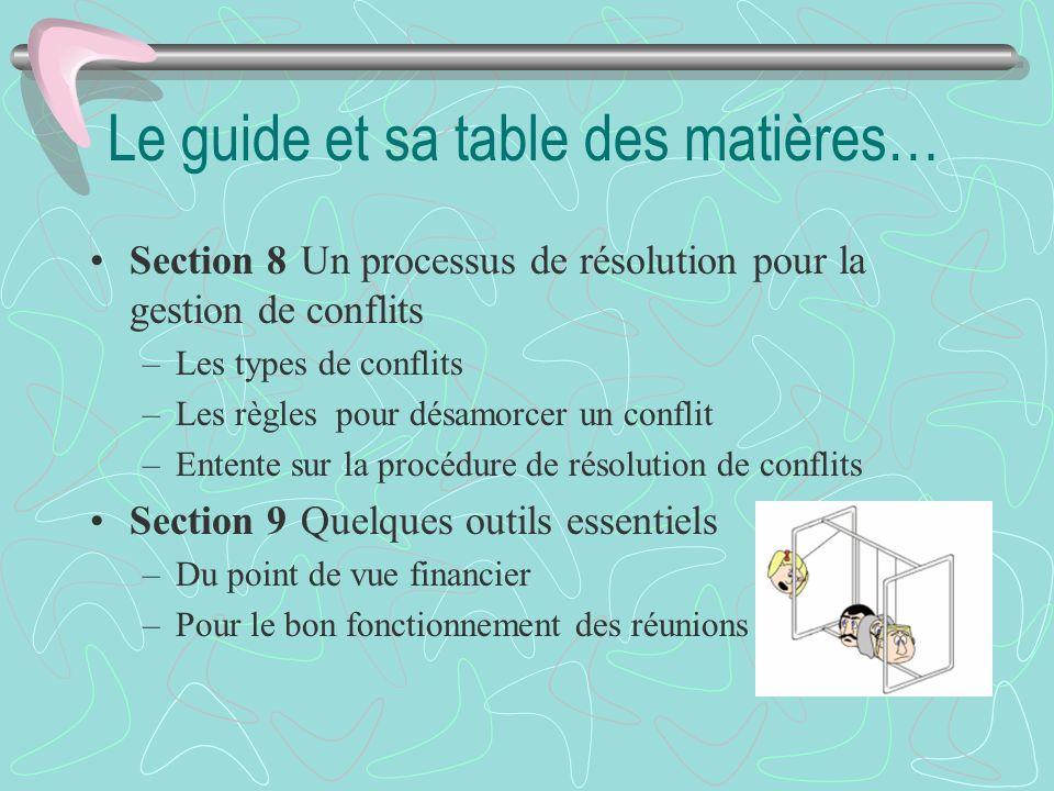 Le guide et sa table des matières…