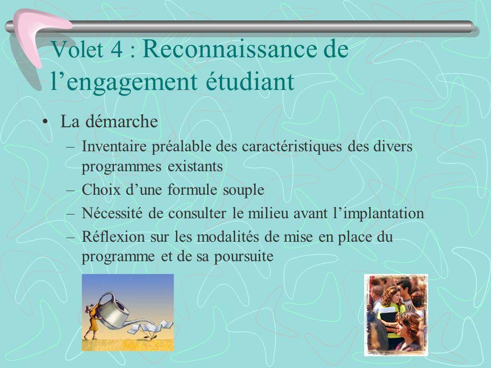 Volet 4 : Reconnaissance de l'engagement étudiant
