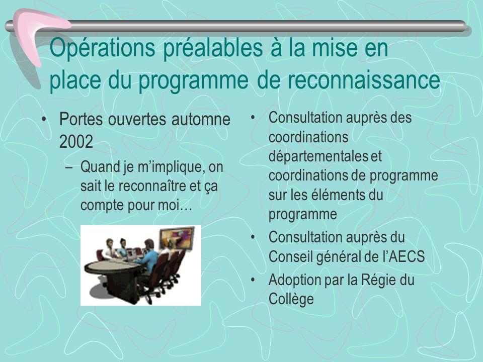 Opérations préalables à la mise en place du programme de reconnaissance