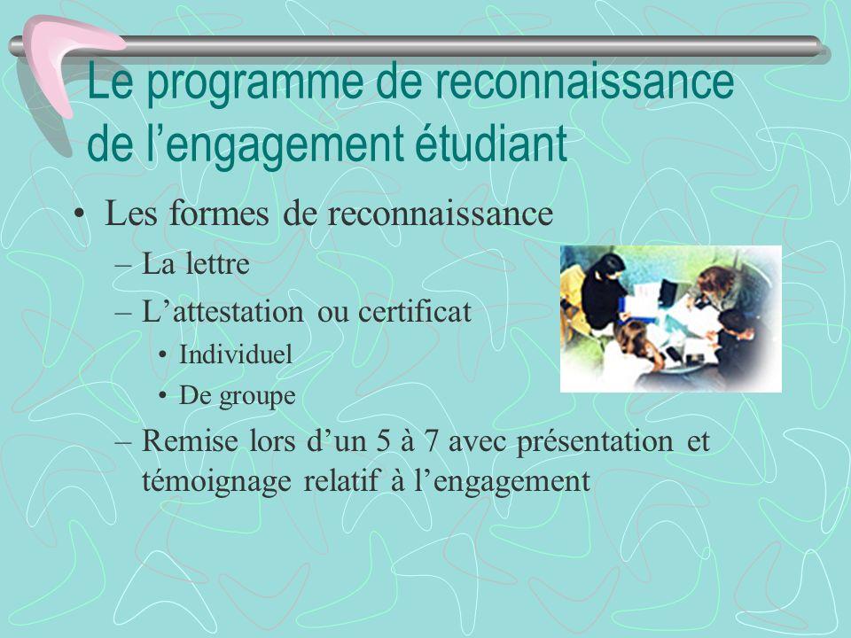 Le programme de reconnaissance de l'engagement étudiant