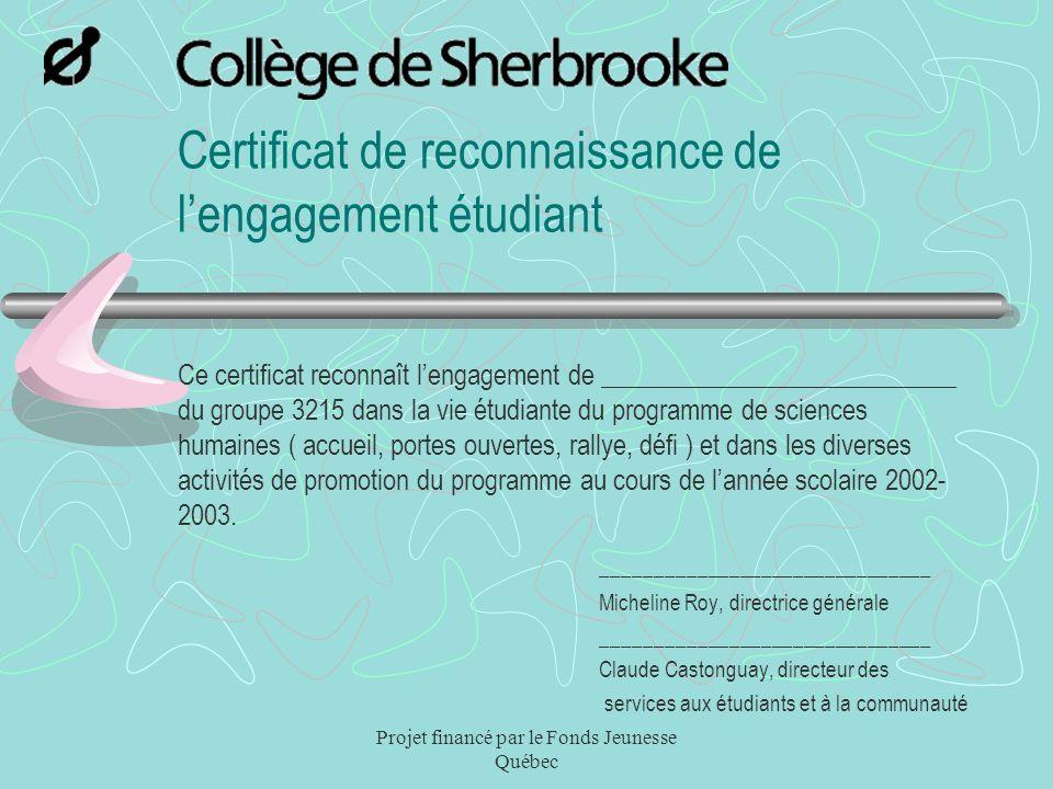 Certificat de reconnaissance de l'engagement étudiant