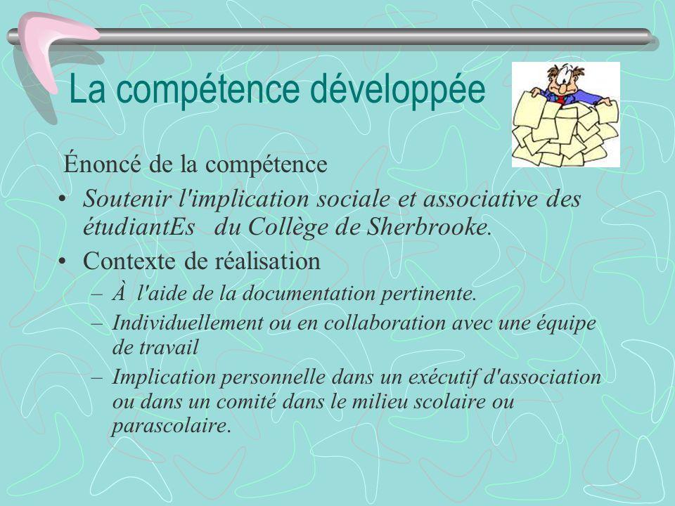 La compétence développée