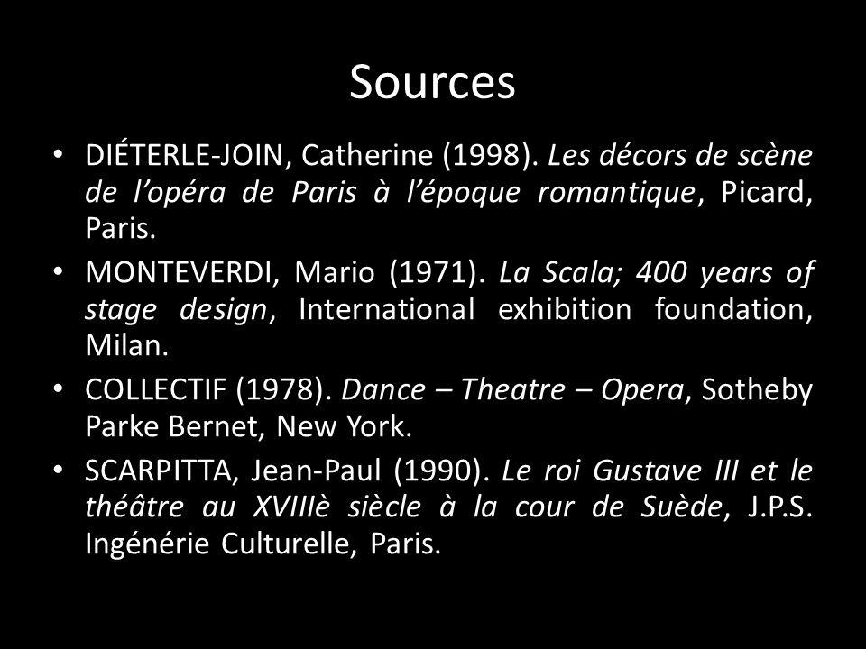 Sources DIÉTERLE-JOIN, Catherine (1998). Les décors de scène de l'opéra de Paris à l'époque romantique, Picard, Paris.