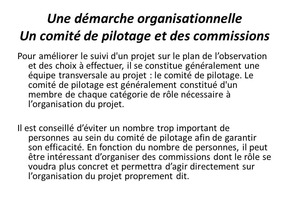 Une démarche organisationnelle Un comité de pilotage et des commissions