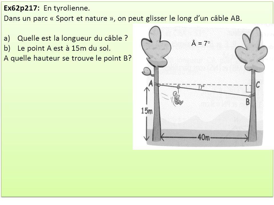 Quelle est la longueur du câble Le point A est à 15m du sol.