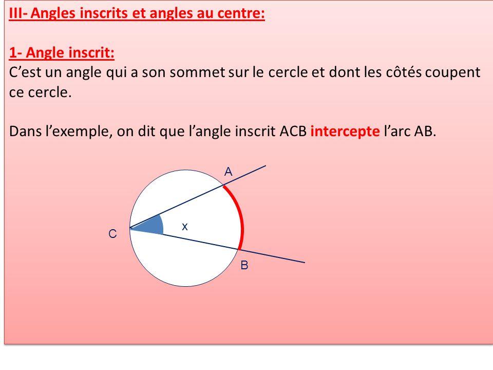 III- Angles inscrits et angles au centre: 1- Angle inscrit: