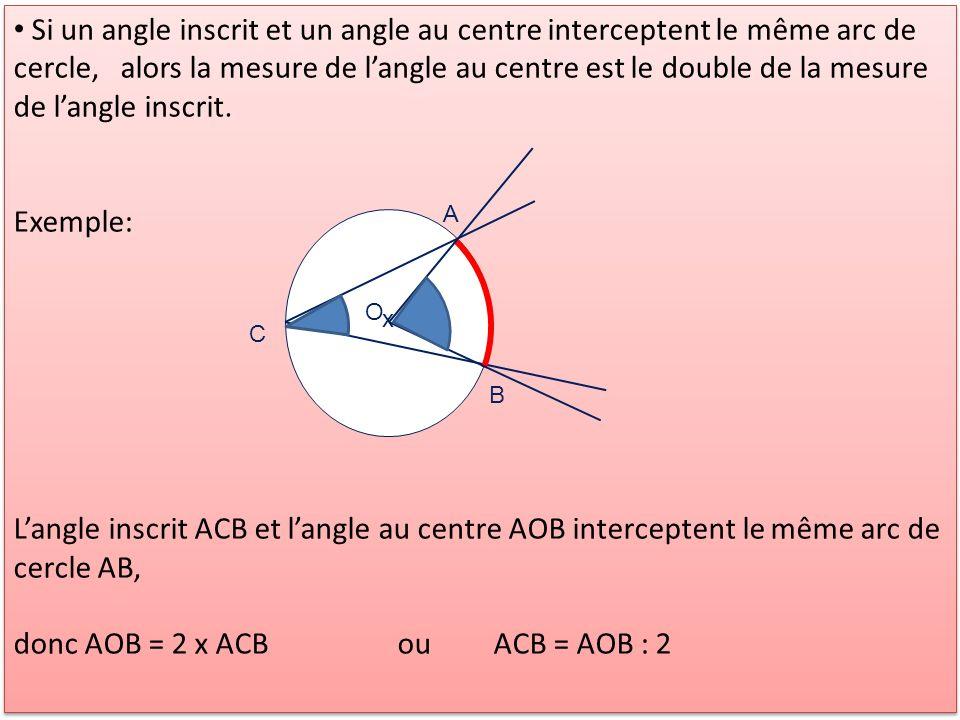 donc AOB = 2 x ACB ou ACB = AOB : 2