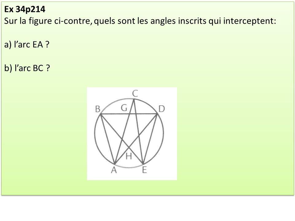 Ex 34p214 Sur la figure ci-contre, quels sont les angles inscrits qui interceptent: a) l'arc EA .