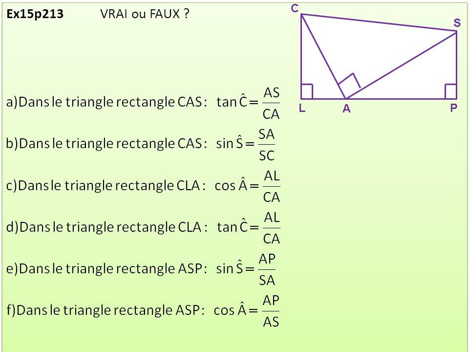 C L S A P Ex15p213 VRAI ou FAUX