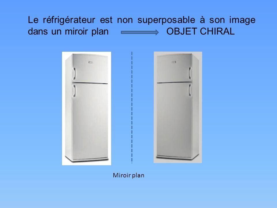 Le réfrigérateur est non superposable à son image dans un miroir plan