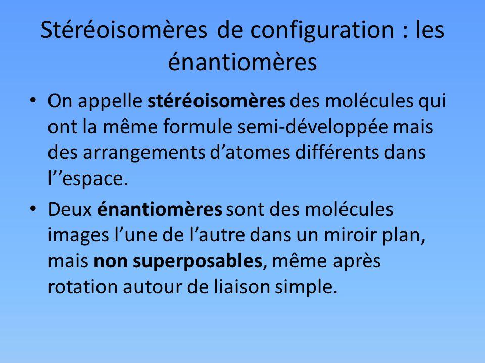 Stéréoisomères de configuration : les énantiomères
